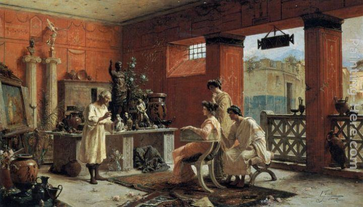 Ettore Forti (-1897) At the Antiquarian's (Oil on canvas)